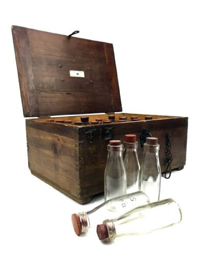 Vintage Scientific Equipment Lab Test Bottle Set By W & J George LTD Wooden Box